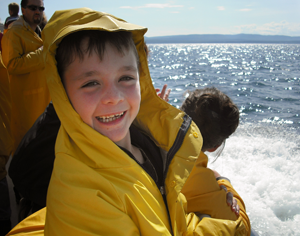 Ready in raingear for the whale-watching cruise.